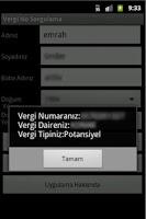 Screenshot of Vergi Kimlik Numarası Sorgula