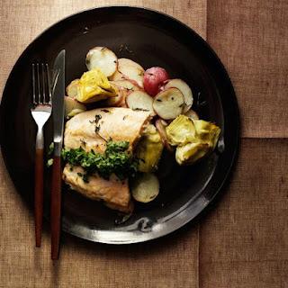 Salmon with Potato-Artichoke Hash