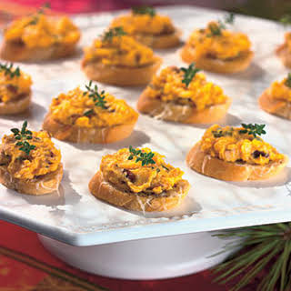 Butternut Squash Spread on Cheese Croutons.