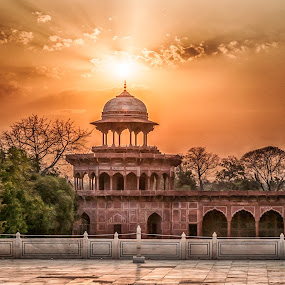 Near Taj Mahal by Alex Shanti - Buildings & Architecture Places of Worship ( sunset, taj mahal, agra, india,  )