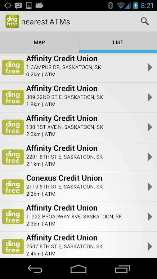 ding free ATM Locator - screenshot