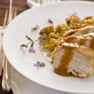 Roasted Turkey Breast with Corn Bread-Sage Stuffing and Brandy Gravy.