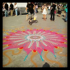Street Artist--New York by Angela Theresa Egic - City,  Street & Park  Street Scenes ( chalk, sidewalk art, street, nyc, washington square park )