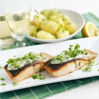 Crispy Salmon with Buttered New Potatoes and Tartare Sauce Recipe