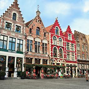Brugge, Belgium by Ozge Kesim Yurtsever - City,  Street & Park  Street Scenes ( grotemarkt, cafes, belgium, brugge )