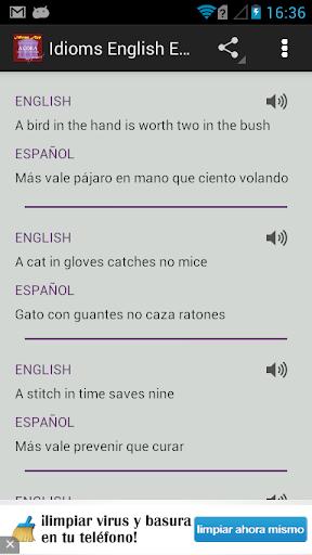 Idioms English Spanish
