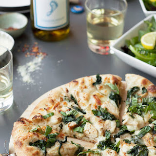 Spinach, Garlic and Chicken Chardonnay White Pizza.