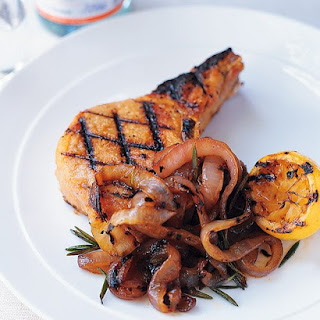 Grilled Pork Chops and Onions.