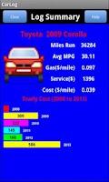 Screenshot of Car Performance Log