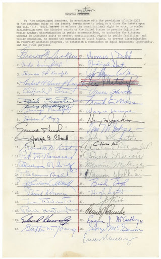 Cloture Motion for the Civil Rights Act of 1964. Page 1.