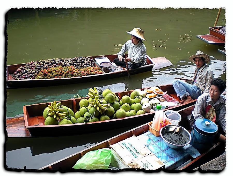 Bangkok by Francesca Riggio - City,  Street & Park  Markets & Shops ( bangkok, market, boats, fruits, river,  )