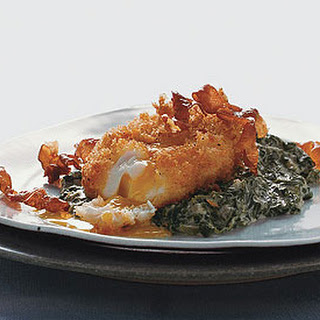 Deep-Fried Poached Eggs with Creamed Spinach and Serrano Ham