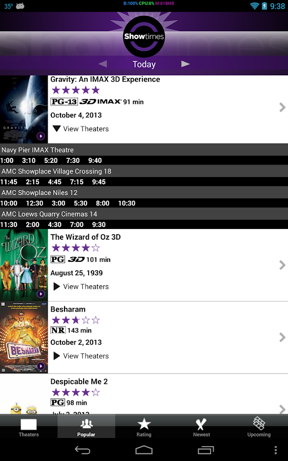 Showtimes - screenshot