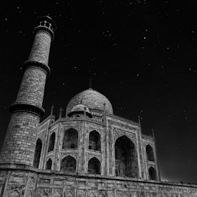 Taj by Kallol Bhattacharjee - Black & White Buildings & Architecture ( love, black and white, taj mahal, architecture, nightscape )