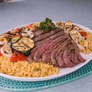 Grilled Steak & Veggies Over Rice.