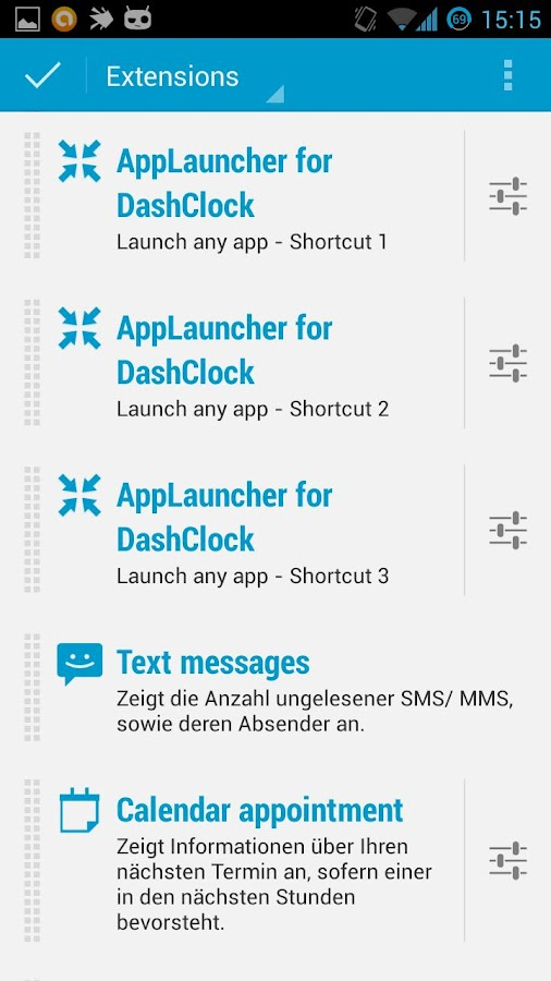 AppLauncher for DashClock - screenshot