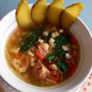 Rassolnik, Traditional Russian Soup With Pickles.
