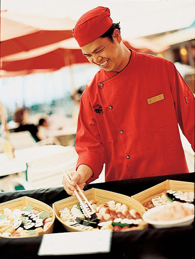 Culinary-Experiences-Chef-at-Asian-Buffet-1 - An exotic Asian buffet lets you sample new tastes during your Crystal Symphony sailing.
