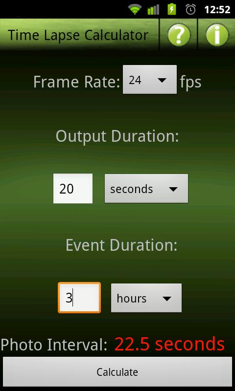 Time Lapse Calculator- screenshot