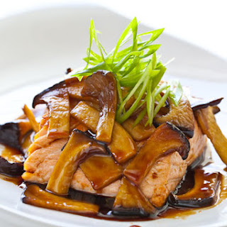 Teriyaki Mushroom Sauce with Grilled Salmon.