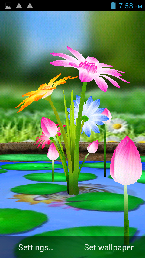 3D Flowers Touch Wallpaper Screenshot