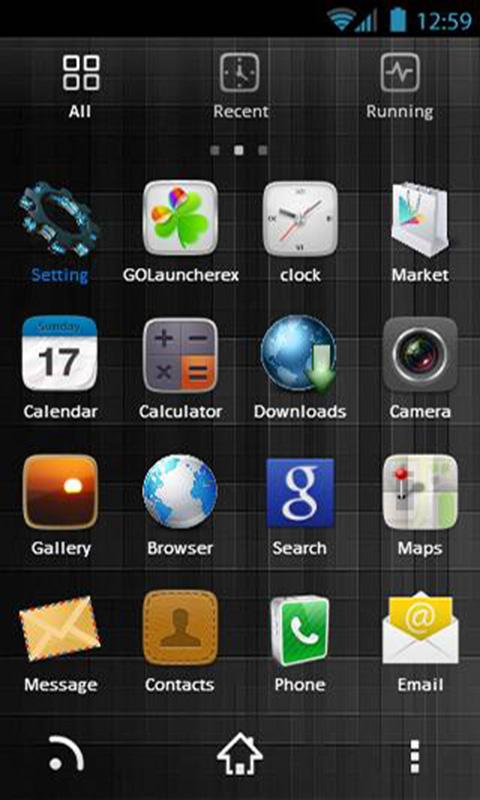 Dark Black Theme GoLauncher EX - screenshot