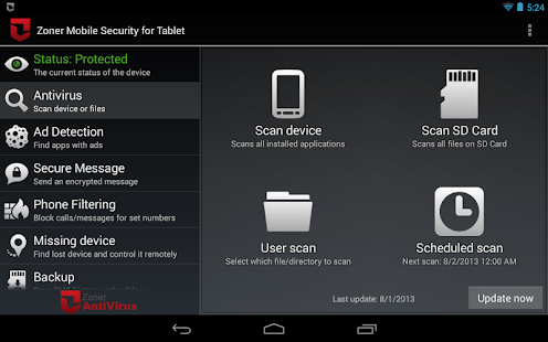 Zoner Mobile Security - Tablet- screenshot thumbnail