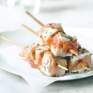 Planked Swordfish Skewers With Prosciutto Wrap