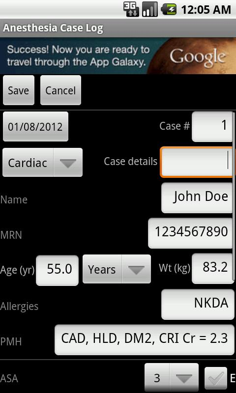 Anesthesia Case Log - screenshot
