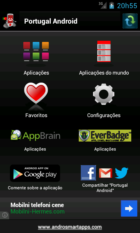 Portuguese applications - screenshot