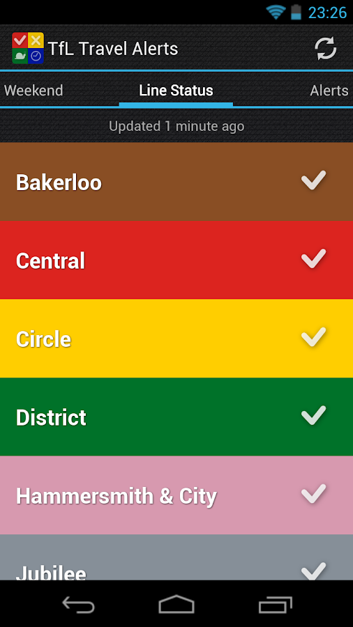 TfL Travel Alerts - screenshot