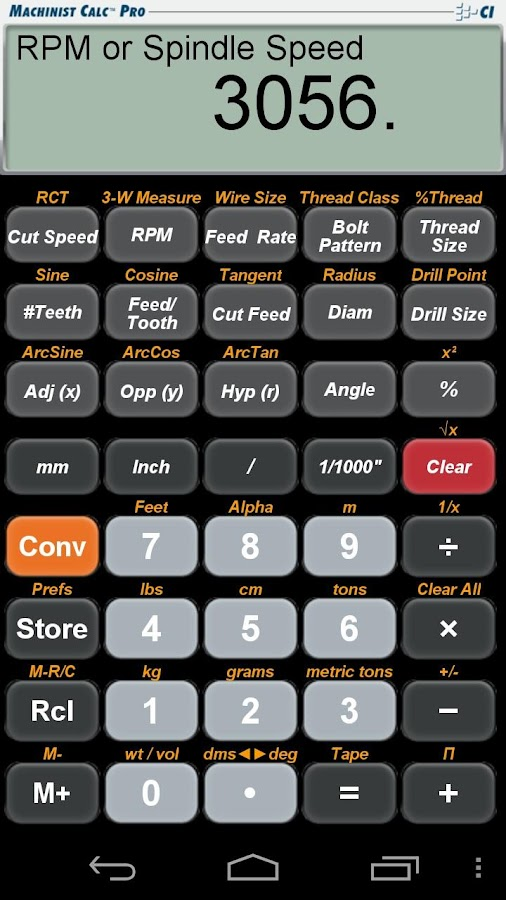 Machinist Calc Pro Calculator- screenshot