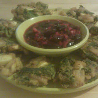 Vegetable Pakoras with Cherry Chutney.
