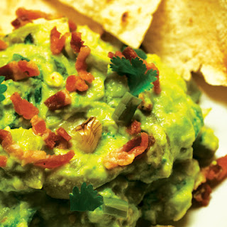Guacamole with Bacon, Grilled Ramps (or Green Onions) and Roasted Tomatillos.