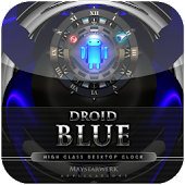 blue android clock widget