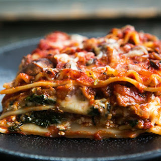 Vegetarian Spinach and Mushroom Lasagna.