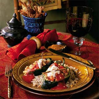 Pork-Stuffed Poblanos With Walnut Cream Sauce.