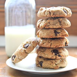 Chunky Chewy Whole Grain Toffee Chocolate Chip Oatmeal Cookies.