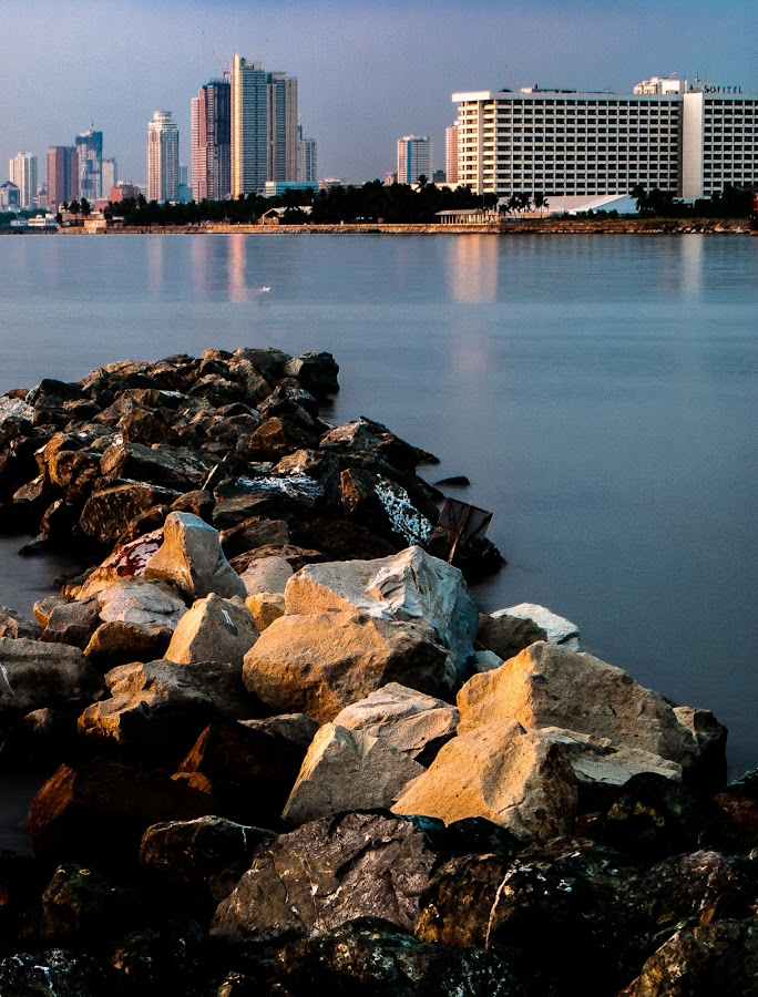 Breakwater by Ynon Francisco - Nature Up Close Rock & Stone ( water, bay, buildings, sea, stones, rocks,  )