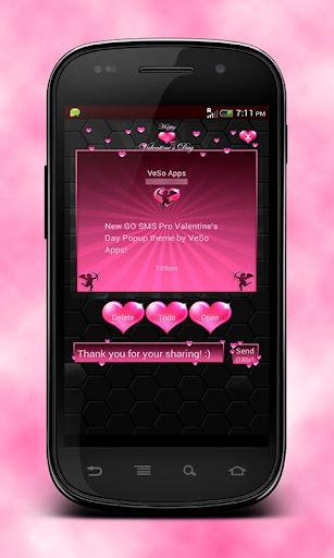 GO SMS Valentine's Day Popup