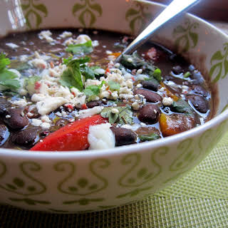 Slow Cooked Spicy Caribbean Black Bean Soup.