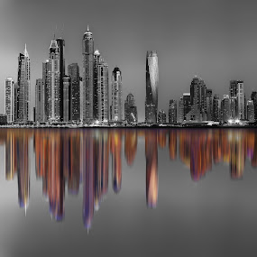 City of life by Ashraf Ahmed Habib - Buildings & Architecture Office Buildings & Hotels ( building, reflection, towers, dubai, black and white, colors, buildings, architecture )
