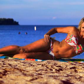 It's Always Summer Somewhere by Dave Skorupski - People Portraits of Women ( water, sand, model, warm, beautiful, blond, lake, beach, bikini, blonde, seagull, girl, swimsuit, woman, swim, summer, smile, river,  )