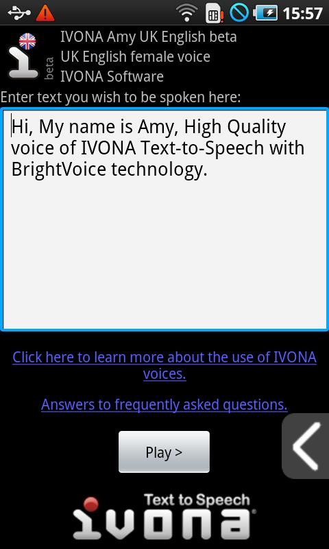IVONA Amy UK English beta - screenshot