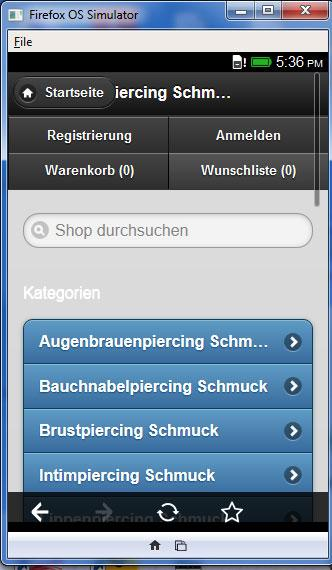 Piercing Schmuck Shop – Screenshot