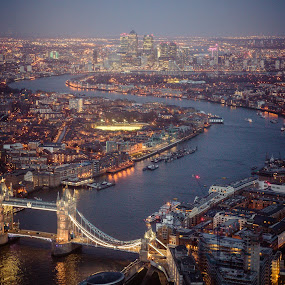 London at night by Tommi Jo - City,  Street & Park  Night ( shard, london, thames, night, bridge )