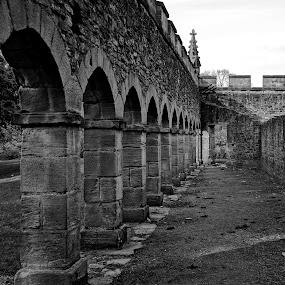 Bishop arches by Shona McQuilken - Black & White Buildings & Architecture ( monochrome, black and white, brick, bishop auckland, arches, castle )