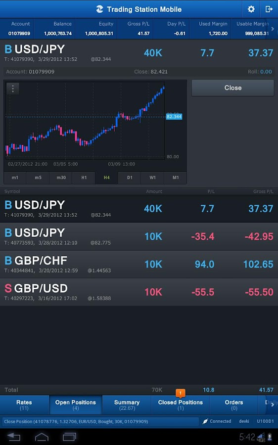 FXCM Trading Station Tablet- screenshot