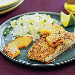 Jerk Fish with Pineapple Rice.