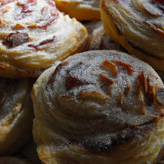 Puff Pastries with Jelly and Almonds.